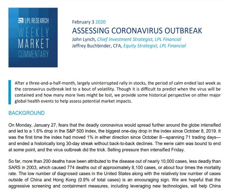 Assessing Coronavirus Outbreak   Weekly Market Commentary   February 3, 2020