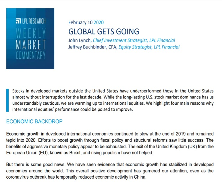 Global Gets Going | Weekly Market Commentary | February 10, 2020