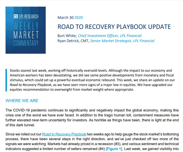 Road To Recovery Playbook Update | Weekly Market Commentary | March 30, 2020