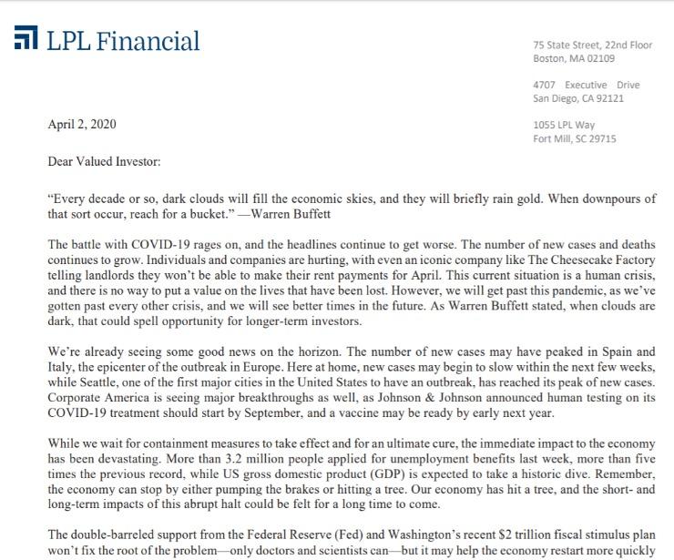 Client Letter | When It Rains Gold, Reach for A Bucket | April 2, 2020