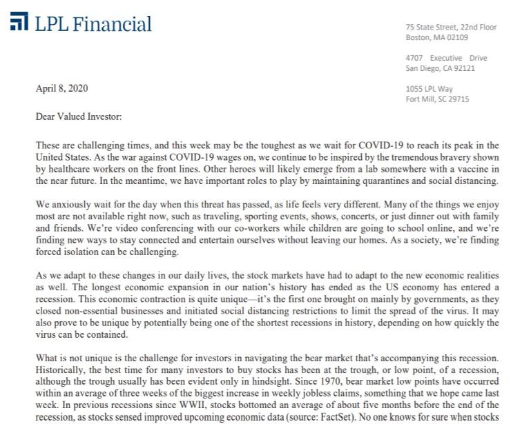 Client Letter | A Unique Economic Situation | April 8, 2020