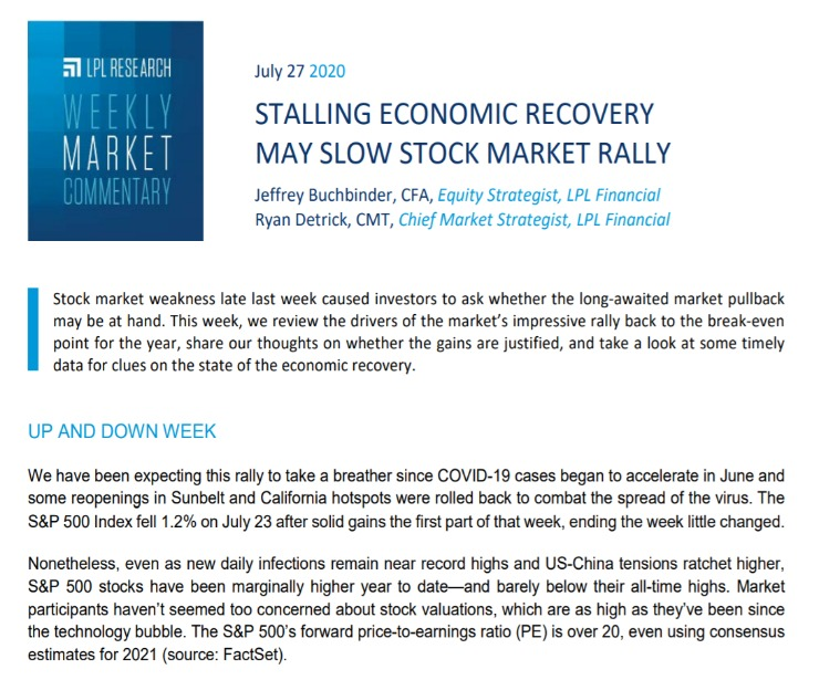 Stalling Economic Recovery May Slow Stock Market Rally | Weekly Market Commentary | July 27, 2020