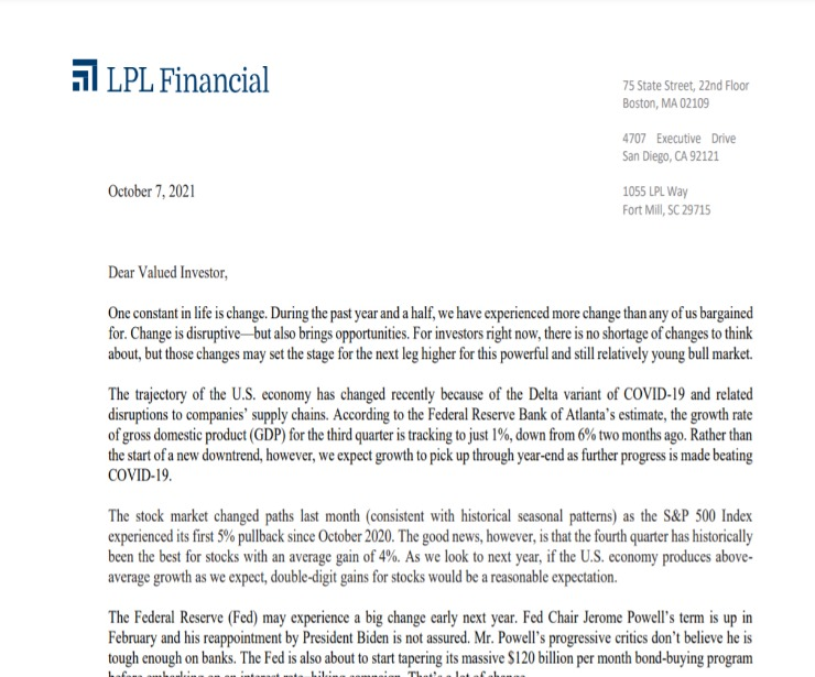 Client Letter | Change May Bring Opportunities | October 7, 2021