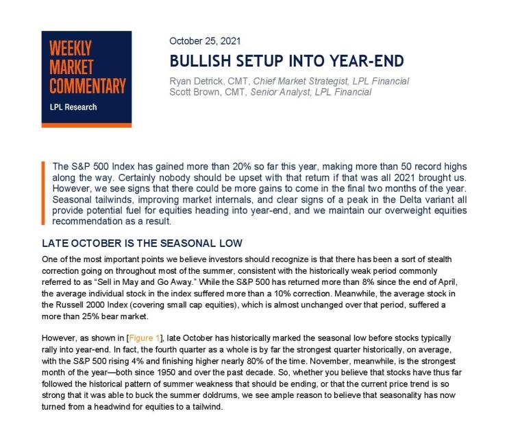 Bullish Setup Into Year-End | Weekly Market Commentary | October 25, 2021